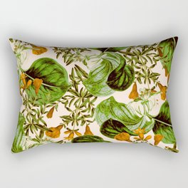 Orange Floral Botanic Rectangular Pillow