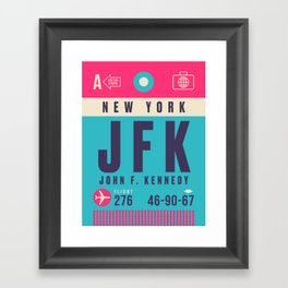 Retro Airline Luggage Tag - JFK New York Framed Art Print
