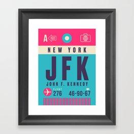 Retro Airline Luggage Tag - JFK New York Framed Art Print