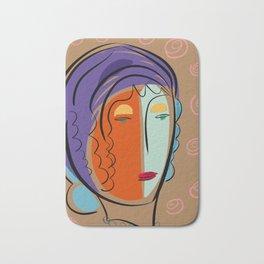 Minimal Expressionist Portrait Orange and Blue Bath Mat