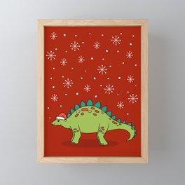 Stegosaurus Santa Framed Mini Art Print