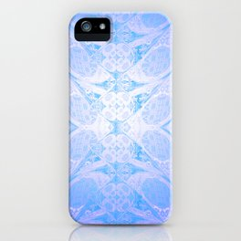 Blue and White Geometric Icy Lace Pattern iPhone Case