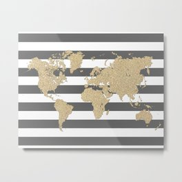 Gold glitter and gray stripes world map Metal Print