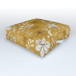 Bohemian Summer Floral in Yellow Outdoor Floor Cushion