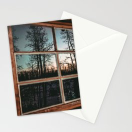 Lumberjack Cabin Window // Grainy Reflection of the Sunset and Trees Stationery Cards