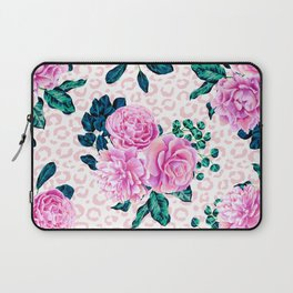 Girly Pink Flowers and Leopard Animal Print Laptop Sleeve