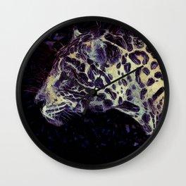 Purple Violet Beige Jaguar Art Wall Clock