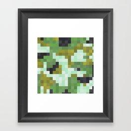 Pixelated Greens Framed Art Print