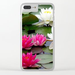 Water Lilies - Pink and White Clear iPhone Case