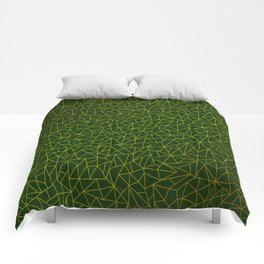 Gold Lowpoly in Green Background Comforters