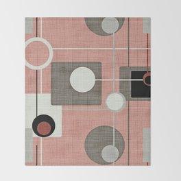 Orbs & Squares Pink Throw Blanket
