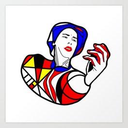 Mondrian glass portrait Art Print