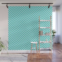 Teal white abstract geometrical chevron Wall Mural
