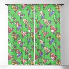 Super Mar!o Kart heroes | greengrass || retrogaming pattern Sheer Curtain