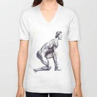 runner V-neck T-shirts featuring Runner by Eugene G
