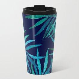 Watercolor Palm Leaves on Navy Travel Mug