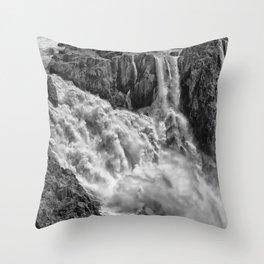 Black and White Beautiful Waterfall Throw Pillow