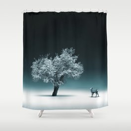 Baby Roe and Tree Conversation Shower Curtain