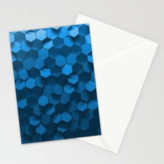 Blue hexagon abstract pattern Stationery Cards