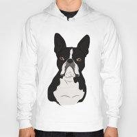 boston terrier Hoodies featuring Boston Terrier by Rachel Barrett