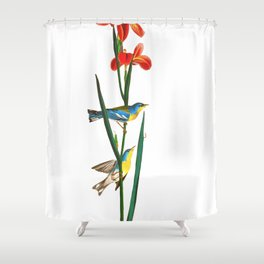 Bird & Red Flowers Shower Curtain