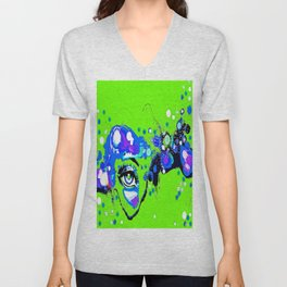 I Thought I Saw An Eye Floating in a Lime Green Sky Unisex V-Neck