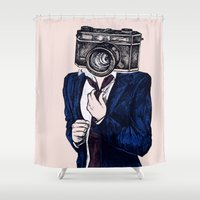 photographer Shower Curtains featuring Mr Photographer by minniemorrisart