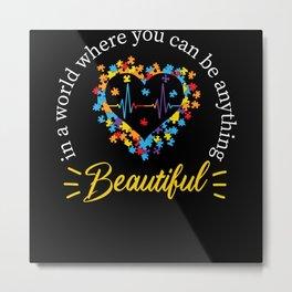 Autism Awareness Kindness Puzzle Autism Heart Metal Print