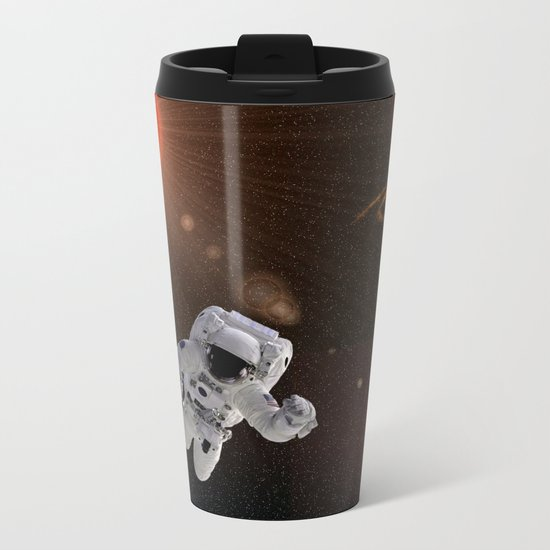 Astronaut Sun Stars Metal Travel Mug