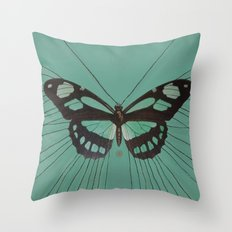 Turquoise Butterfly Throw Pillow