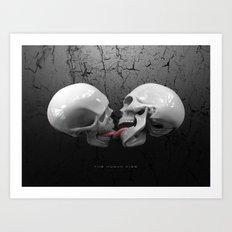 The Human Kiss Skull Art Print
