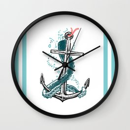 Anchor and Tentacle (Riso edition) Wall Clock