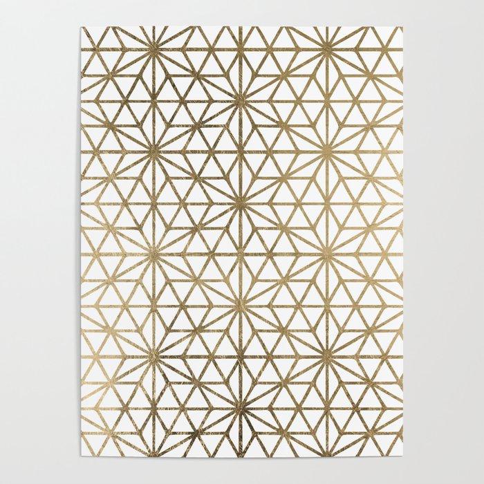 Modern geometric gold stars pattern on white Poster