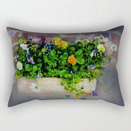 Pansies in Wood Box Rectangular Pillow