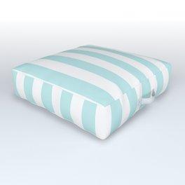 Striped- Turquoise vertikal stripes on white - Maritime Summer Beach Outdoor Floor Cushion