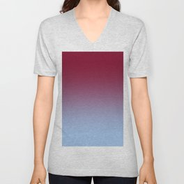 Burgundy Red to Baby Blue Linear Gradient Unisex V-Neck
