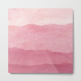 Ombre Waves in Pink Metal Print