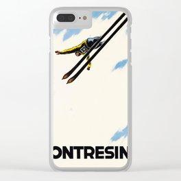 Pontresina,Switzerland Vintage Ski Travel Poster Clear iPhone Case