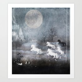 Five Horses and a Fox Art Print
