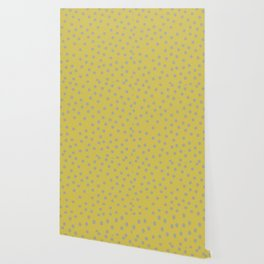 Simply Dots Retro Gray on Mod Yellow Wallpaper