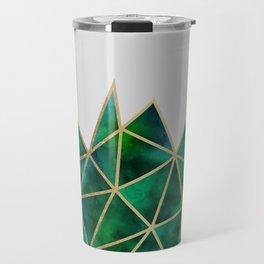 Emerald & Gold Geometric Travel Mug