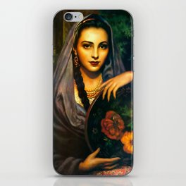 Jesus Helguera Painting of a Calendar Girl with Dark Shawl iPhone Skin
