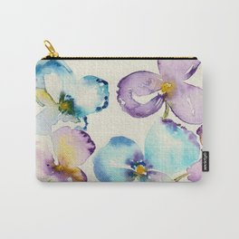 Pansies in Purple and Blue - Watercolor Floral Carry-All Pouch