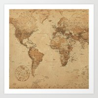 vintage map Art Prints featuring VINTAGE MAP by Oksana Smith