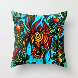 Phoenix Flower Throw Pillow