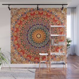Indian Summer I - Colorful Boho Feather Mandala Wall Mural
