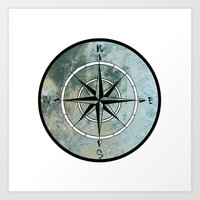 compass Art Prints featuring Compass by madbiffymorghulis