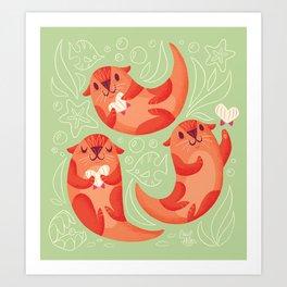 Cute Otters Art Print