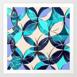 Mozart. Composition in blue. Graphic Design. Hybrydus Art Print