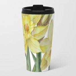 Watercolor Daffodils Botanical Illustration Travel Mug